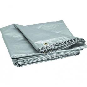 Prelata cu inele, PYRAMID®, 150 G/MP, 4 x 5 M, impermeabila, argintiu, PREL19