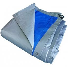Prelata cu inele, PYRAMID®, 180 G/MP, 3 x 4 M, impermeabila, argintiu si albastru, PREL25