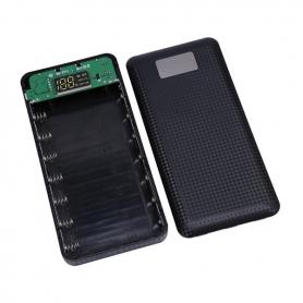Carcasa pentru Power Bank cu 7 baterii tip 18650, cu 3 porturi USB, display LCD si  lanterna cu doua leduri - Negru