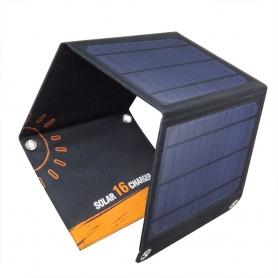 Panou solar 18V - 16W, PYRAMID, pliabil, portabil, cu 2 porturi USB, camping, drumetii, pescuit, PS-16