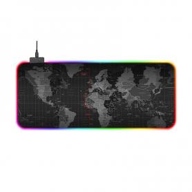 Mousepad Gaming RGB, PYRAMID®, 800x300x4mm, RGB,13 moduri de iluminare, harta lumii, anti alunecare, suprafata textila, PAD02