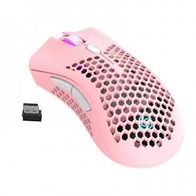 Mouse gaming Royal Kludge RM310, 1600 dpi, 7 butoane, wireless, reincarcabil, ultrausor 95g, iluminare RGB, roz, RM310