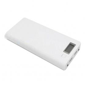 Carcasa pentru Power Bank cu 8 baterii tip 18650, cu  2 porturi USB, display LCD si lanterna cu doua leduri - Alb